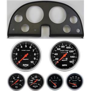 63-67 Corvette Black Dash Carrier w/ Auto Meter Sport Comp Mechanical Gauges