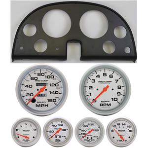 63-67 Corvette Black Dash Carrier w/ Auto Meter Ultra Lite Mechanical Gauges