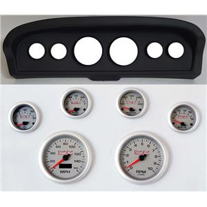 61-66 Ford Truck Black Dash Carrier Concourse Silver Face Gauges