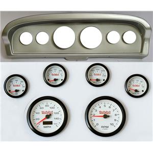 61-66 Ford Truck Silver Dash Carrier Concourse White Face Gauges