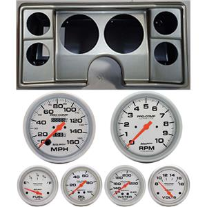 78-81 Chevy G Body Silver Dash Carrier Auto Meter Ultra Lite Mechanical Gauges
