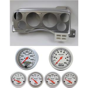 87-89 Mustang Silver Dash Carrier w/ Auto Meter Ultra Lite Electric Gauges