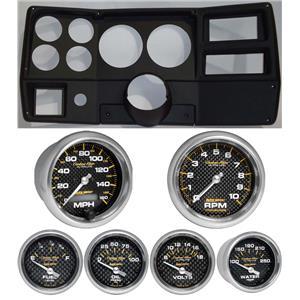 """84-87 Chevy Truck Black Dash Carrier w/ Auto Meter Carbon Fiber 5"""" Gauges"""