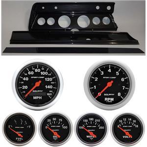 67 Chevelle Carbon Dash Carrier w/ Auto Meter Sport Comp Electric Gauges
