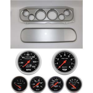 69-70 Cougar Silver Dash Carrier w/ Auto Meter Sport Comp Mechanical Gauges