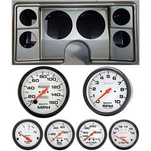 78-81 Chevy G Body Silver Dash Carrier w/Auto Meter Phantom Mechanical Gauges