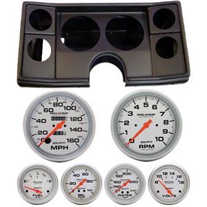 78-81 Chevy G Body Black Dash Carrier w/ Auto Meter Ultra Lite Mechanical Gauges