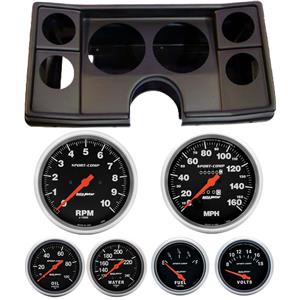 82-88 Chevy G Body Black Dash Carrier w/ Auto Meter Sport Comp Mechanical Gauges