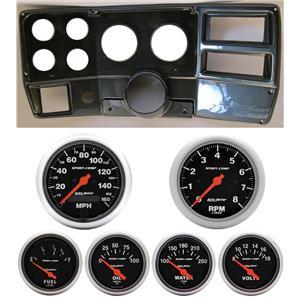 84-87 Chevy Truck Carbon Dash Carrier w/ Auto Meter Sport Comp Electric Gauges