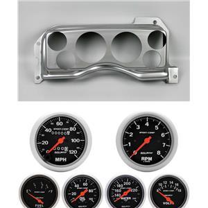 90-93 Mustang Silver Dash Carrier w/ Auto Meter Sport Comp Mechanical Gauges