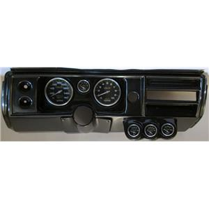 """68 Chevelle Carbon Dash Carrier w/ Auto Meter 5"""" Carbon Fiber Gauges No Astro"""