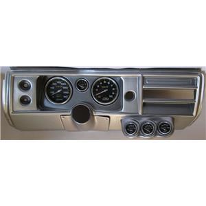 """68 Chevelle Silver Dash Carrier w/ Auto Meter 5"""" Carbon Fiber Gauges No Astro"""