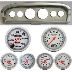 61-66 Ford Truck Silver Dash Carrier w/Auto Meter Ultra Lite Mechanical Gauges