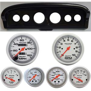61-66 Ford Truck Carbon Dash Carrier w/Auto Meter Ultra Lite Mechanical Gauges