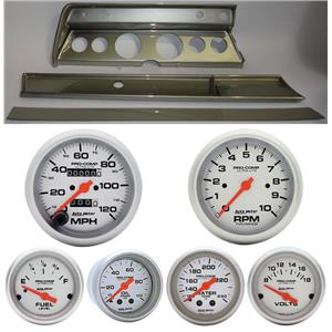 66 Chevelle Slver Dash Carrier w/ Auto Meter Ultra Lite Mechanical Gauges