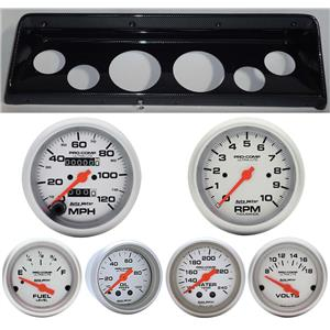 66 67 Nova Carbon Dash Carrier w/Auto Meter Ultra Lite Mechanical Gauges
