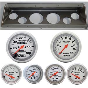 66 67 Nova Silver Dash Carrier w/ Auto Meter Ultra Lite Mechanical Gauges