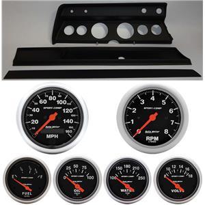 67 Chevelle Black Dash Carrier w/ Auto Meter Sport Comp Electric Gauges