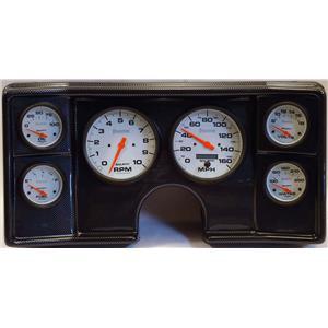 78-81 Chevy G Body Carbon Dash Carrier w/ Auto Meter Phantom Electric Gauges