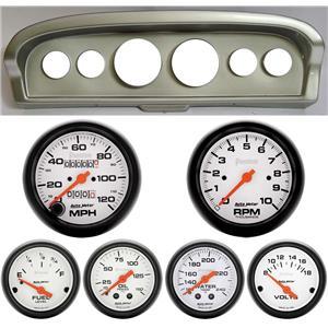 61-66 Ford Truck Silver Dash Carrier w/Auto Meter Phantom Mechanical Gauges