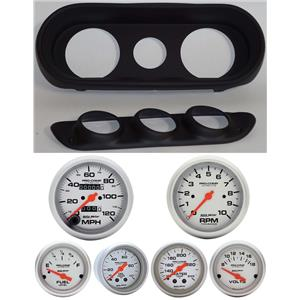 62-64 Nova Black Dash Carrier w/Auto Meter Ultra Lite Mechanical Gauges