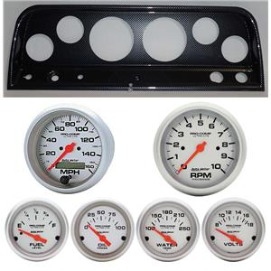 64 Chevy Truck Carbon Dash Carrier w/ Auto Meter  Ultra Lite Electric Gauges