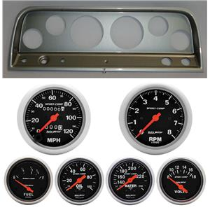 64 Chevy Truck Silver Dash Carrier w/Auto Meter Sport Comp Mechanical Gauges