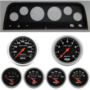 64 Chevy Truck Black Dash Carrier w/ Auto Meter Sport Comp Electric Gauges