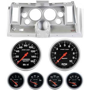 "69 Camaro Silver Dash Carrier w/ Auto Meter Sport Comp Electric 5"" Gauges"