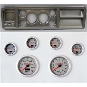 """73-79 Ford Truck Silver Dash Carrier w/ 3-3/8"""" Concourse Series Silver Gauges"""