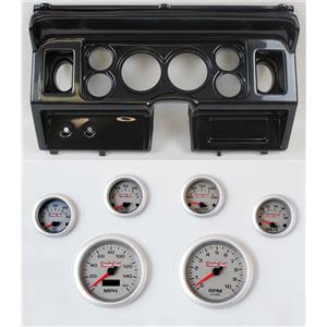 """80-86 Ford Truck Carbon Dash Carrier w/ 3-3/8"""" Concourse Series Silver Gauges"""
