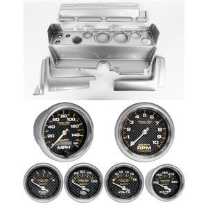 70-74 Mopar E-Body Silver Dash Carrier w/ Auto Meter Carbon Gauges