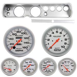 "64 Chevelle Silver Dash Carrier w/ Auto Meter 5""  Ultra Lite Mechanical Gauges"