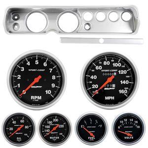 "65 Chevelle Silver Dash Carrier w/ Auto Meter 5"" Sport Comp Mechanical Gauges"
