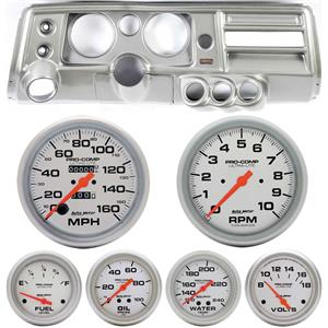 "68 Chevelle Silver Dash Carrier 5"" Ultra Lite Mechanical Gauges w/ Astro"
