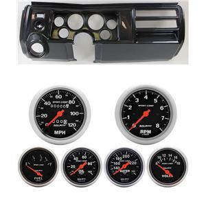 """69 Chevelle Carbon Dash Carrier 5"""" Sport Comp Mechanical Gauges w/ Astro"""