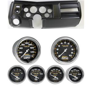 """69 Chevelle Black Dash Carrier w/ Auto Meter 5"""" Carbon Fiber Gauges w/ Astro"""