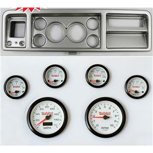 """73-79 Ford Truck Silver Dash Carrier w/ 3-3/8"""" Concourse Series White Gauges"""