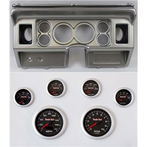 """80-86 Ford Truck Silver Dash Carrier w/ 3-3/8"""" Concourse Series Black Gauges"""