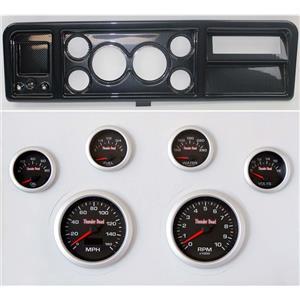 "73-79 Ford Truck Carbon Dash Carrier w/ 3-3/8"" Concourse Series Black Gauges"