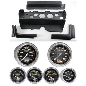 70-74 Mopar E-Body Black Dash Carrier w/ Auto Meter Carbon Gauges