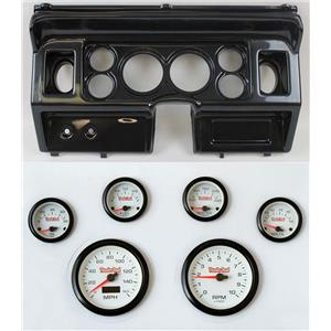 """80-86 Ford Truck Carbon Dash Carrier w/ 3-3/8"""" Concourse Series White Gauges"""