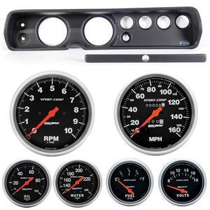 """64 Chevelle Black Dash Carrier w/ Auto Meter 5"""" Sport Comp Mechanical Gauges"""