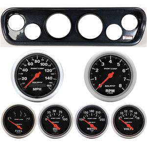 64-66 Mustang Carbon Dash Carrier w/ Auto Meter Sport Comp Electric Gauges