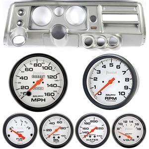 "68 Chevelle Silver Dash Carrier Auto Meter 5"" Phantom Mechanical Gauges w/ Astro"