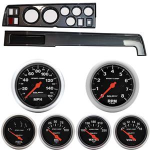 68-70 Mopar B Body Carbon Dash Carrier w/ Auto Meter Sport Comp Electric Gauges