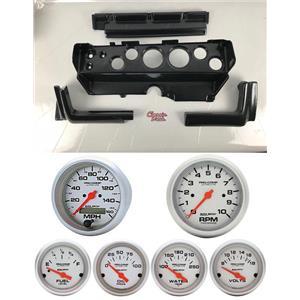 70-74 Mopar E-Body Carbon Dash Gauge Carrier w/AM Ultra Lite Electric Gauges