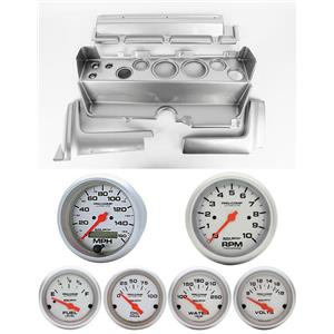 70-74 Mopar E-Body Silver Dash Gauge Carrier w/AM Ultra Lite Electric Gauges