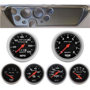 67 GTO Silver Dash Carrier w/Auto Meter Sport Comp Mechanical Gauges