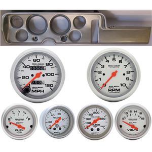 68 GTO Silver Dash Carrier w/Auto Meter Ultra Lite Mechanical Gauges